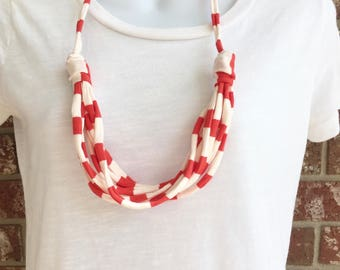 Orange and White Fabric Necklace, Fabric Statement Necklace, Tshirt Yarn, Upcycled Jewelry, Repurposed Jewelry
