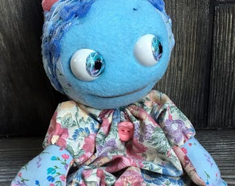 "10"" Blue sleeper baby doll moving eyes custom clothes feed sack baby by Karen Knapp of Tindle Bears"