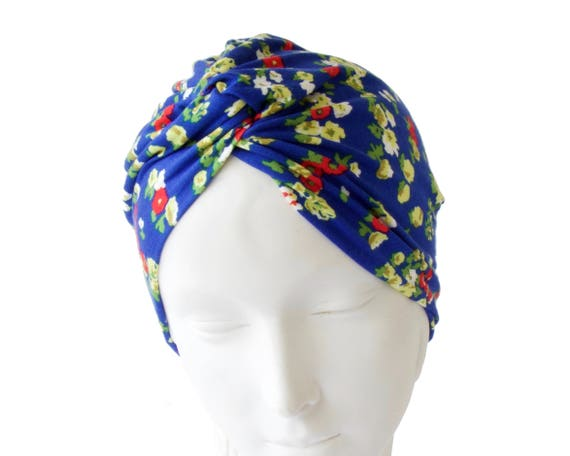 Flower Turban Hat 1940s Hat Spring Fashion Chemo Cap Skullcap Beach Hair Wrap Head Scarf Head Wrap Blue Floral Turban Hat Stretch Turban