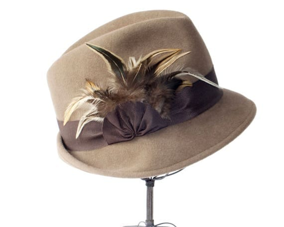 Fedora Hat Women's Hat Fall Fashion Taupe Hat Winter Accessories Hat With Feathers Handmade Hat Trilby Hat Gift For Her Small Brim Fedora