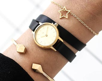 22 mm Watch in Gold and Black, Small Women's Wrist Watch, Black Wrap Wrist Watch, Leather Strap, Bracelet Watch, Leather Band Watch