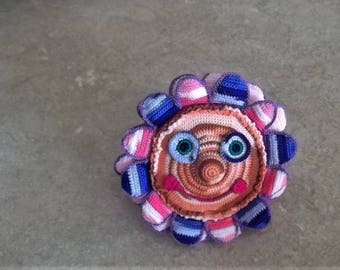 Bonnie's OOAK Crochet Cotton Thread  Item Funny Face Hearty Smile Burst Of Colors Flower Pillow Doll @cyicrochet Not a Toy
