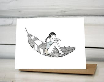 Woman on a Feather greeting card