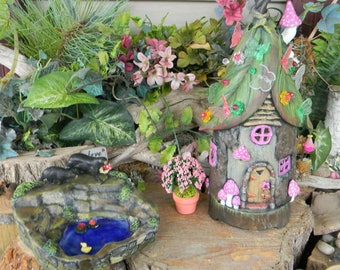 Fairy  House  Tree stump Leaf Roof   Dream Home Night light Lamp butterfly  daisy light Gnomes can live here  center piece Fantasy birthday