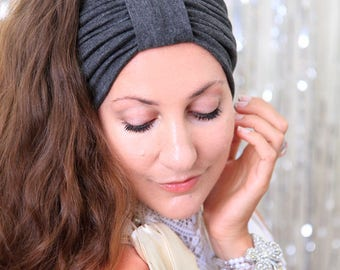 Turban Headband - Women's Hair Band in Dark Heather Grey Jersey Knit - Boho Style Wide Headbands - Lots of Colors