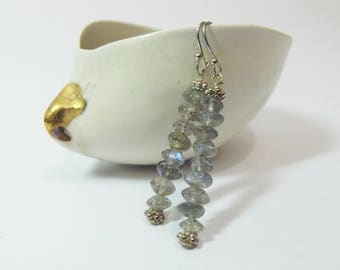 Earrings-Labradorite Beads,Dangle,Sterling Silver,Sophisticated Style,Blue Flash,Special Gift,Bridal ,Wedding Earrings,Semiprecious Stones