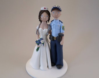 Unique Cake Toppers - Police Officer & Nurse Custom Handmade Wedding Cake Topper