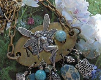 Vintage Assemblage Necklace - Garden Fairy