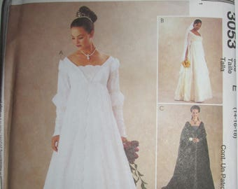 McCalls 3053 Renaissance Wedding Gown Pattern Queen Costume Bridesmaid Dress Detachable Train Uncut Pattern Plus Size 14 16 18 UNCUT