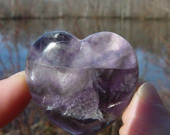 Fluorite Crystal Heart # 1 ~ Polished Genuine Fluorite, Chakra, Crystal Healing, Reiki, Metaphysical, Meditation, Love, Stone Heart, Gypsy