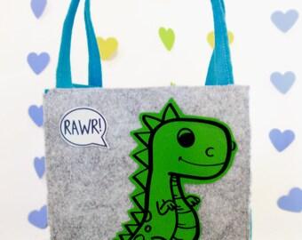 Dinosaur Valentine's Felt Bag//Green//Recycled Materials//Science Bag