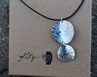 """Double Circle Necklace with amazing texture. 2"""" long lightweight"""