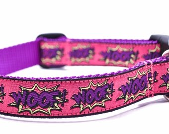 WOOF! Pink and Purple Dog Collar / Cartoon Collar / Hot Pink / Martingale or Buckl