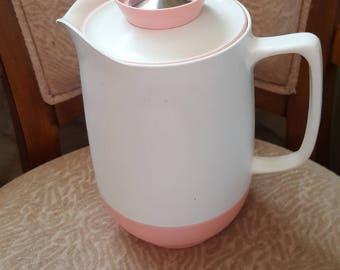 Retro thermal pitcher white pink beverage server w lid carafe kitchen