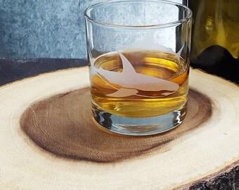 Great White Shark | Etched Glass | Whiskey Tumbler | Rocks Glass | Surf Decor | Aquarium | Shark Gift | Science Teacher Gift