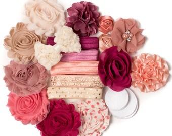 Juliet : Peach Rose   10 DIY Headbands   Headband Kit Craft Flowers FOE Fold Over Elastic   Princess Parties + Baby Showers
