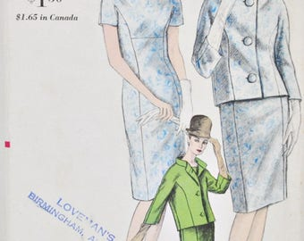 1960's Vogue 6143 Princess Seam Dress w/ Jacket Size 14 Bust 34