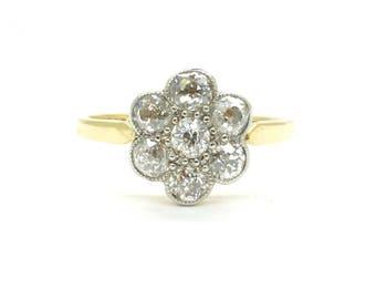 Edwardian Diamond cluster engagement ring Antique Platinum 18ct Halo flower daisy 1910-1920 Wedding Anniversary Old cut OMC ring*FREE Ship