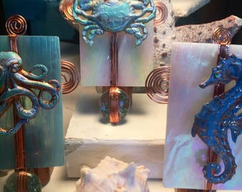 Handmade Glass crab nightlight, Cottage Chic, Stained Glass nightlight, Copper, Swarovski, Copper Night Light, hostess gift