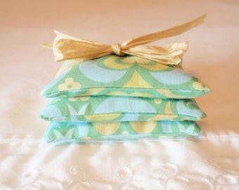 SUMMER SALE - Handmade Lavender Sachets, Green Designer Fabric Lavender Bags, Eco Friendly Sachets, Air Fresheners, Dryer Sheets, SET of 3