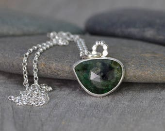 Rose Cut Emerald Necklace, 6.60ct Emerald Necklace, May Birthstone, Large Emerald Necklace Handmade In The UK