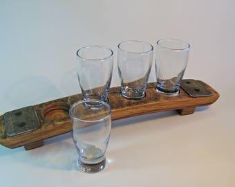 Beer Flight, Oak Stave, Beer Paddle, Beer Lover Gift, Barrel Art, Beer Tasting Flight, Beer Sampler, Wood Gift, Wood Anniversary, Home Bar