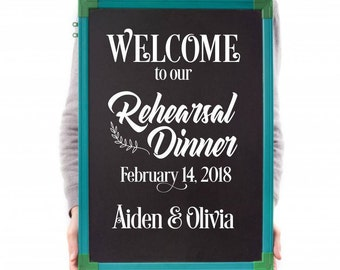 Wedding decal sticker,rehersal dinner, chalkboard decal sign, vinyl letters, wedding decor, bride and groom, name and date, farmhouse rustic