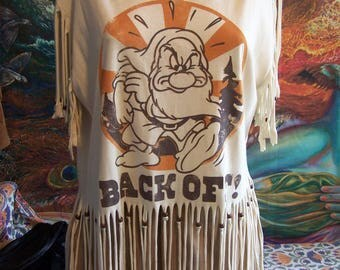 Fringed T shirt, BACKOFF, Grumpy Shirt, Handcut Cotton Tee, Shredded shirt, Beaded Fringe, Recycle, Upcycle