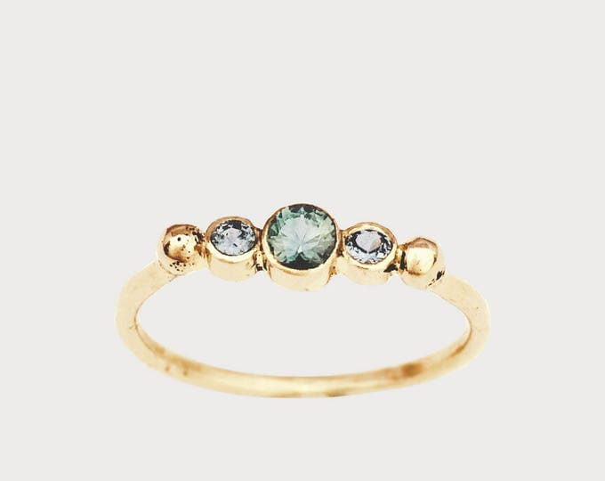 BTWN You and Me_ 14K Yellow Gold Montana Sapphire Engagement ring, Three Stone Engagement Ring