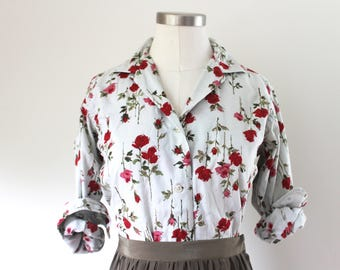 1960s Rose Print Button Up Blouse
