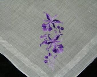 Vintage Embroidered Purple Floral Wedding Handkerchief, Hankie, Hanky, 9888