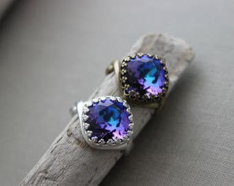 Swarovski crystal ring - Adjustable ring - crown setting - Purple and Blue Heliotrope - Sparkly Statement ring - Choice of metal color