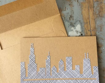 Chicago Skyline Card Chicago Flag Recycled Blank Note
