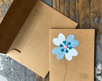 Recycled Envelope Card  Flower Thank You Blank Inside