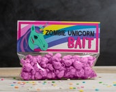 ZOMBIE Unicorn Printable Party Favors Treat Toppers Creepy Cute Halloween or Birthday Party DIY print at home rainbow funny popcorn bags