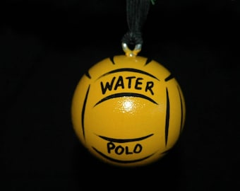 Water Polo - Hand Painted Ornament - Personalized - Solid Wood