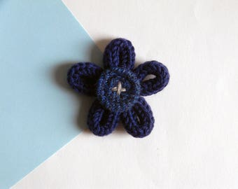 Flower brooch - Textile brooch pin - Wool brooch -  Made in Italy - Blue brooch - Tweed brooch