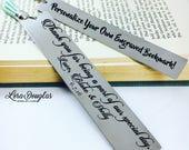 Personalized Bookmark, Metal Bookmark, Engraved Bookmark, Silver Bookmark, Engraved, Engraving, Book, Bookmark, Author, Reader, Tassel