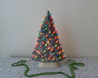 vintage ceramic Christmas tree, 15 inches, shelf or windowsill, slim style, lighted, Christmas decor