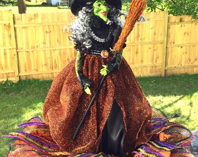 SALE- Glitter Witch Broom Orange Black - Fall Halloween Centerpiece