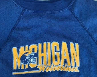 The Vintage Navy Blue 50/50 University of Michigan Wolverines Crewneck Sweatshirt