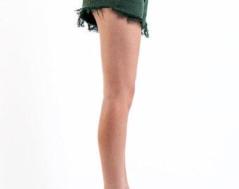 Levi Vintage Forest Green Daisy Duke Shorts Size 26