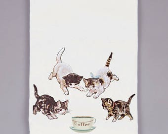 tea towel - dish towels - flour sack towel - kitchen decor - coffee gifts - kitchen towels - gifts for mom - mothers day gifts - COFFEE CATS