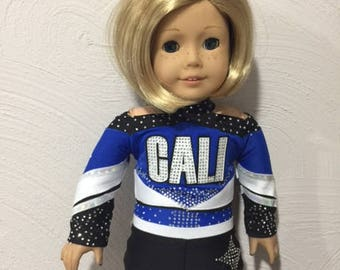 "Made to order Cali Bullets Cheerleader Uniform to fit American Girl Doll or any 18"" doll"