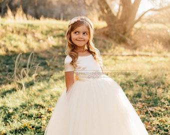 NEW! The Sophia Dress in Ivory with Rhinestone Sash - Flower Girl Tutu Dress