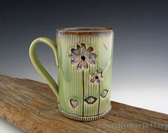 Pottery Mug in Rustic Lime with Daisy - Coffee Mug - Always Mug - Inspirational Mug - Large Mug - by DirtKicker Pottery