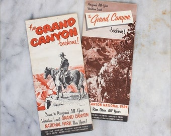 2 Vintage Travel Brochures / 1950's Grand Canyon / Roadside America