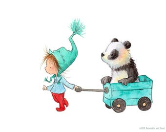 Which Way Do We Go?  - Girl and Panda Bear - Art Print