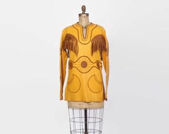 Vintage 60s Buckskin DRESS / 1960s Custom Made LEATHER Native American Boho Tunic Dress