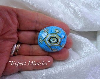 Expect Miracles: Hand-Painted Mandala Meditation Stone